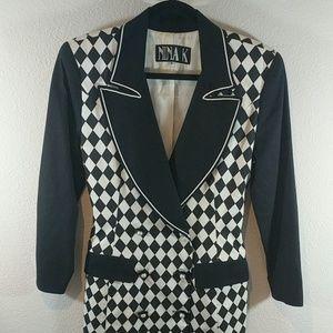 Awesome 80s vintage geometric checkered blazer